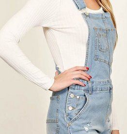 Vintage Soul Overall Shorts - Light Blue