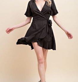 Modern Gal Wrap Dress - Charcoal