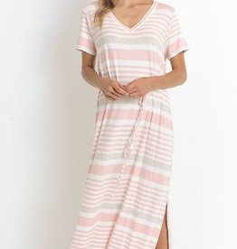Feather In The Wind Maxi Dress- Pink
