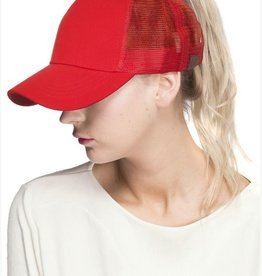 Mesh Ponytail Cap- Red