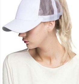 Mesh Ponytail Cap- White