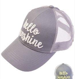 Hello Sunshine Color Changing Ponytail Cap- Dark Gray