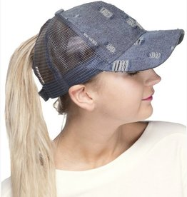 Ponytail Destroyed Jean Baseball Cap