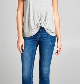 Cut It Out Knot Top - Heather Grey