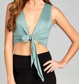 Nothing On You Crop Top - Sage Green