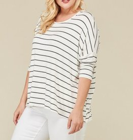 Love On The Run Top- Ivory/Charcoal
