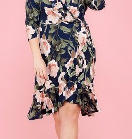 Look Into Your Heart Dress-Navy/Rose