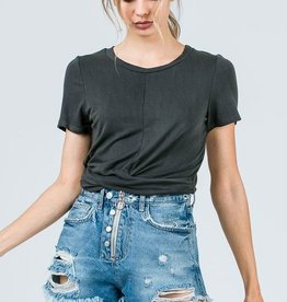 Easy Goes It Crop Top - Black