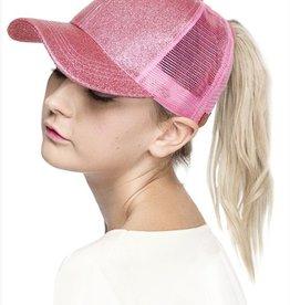Glitter Ponytail Baseball Cap- Pink