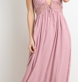 Having The Time Of My Life V-Neck Maxi Dress - D. Pink