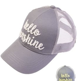 Hello Sunshine Color Changing Ponytail Cap- Grey
