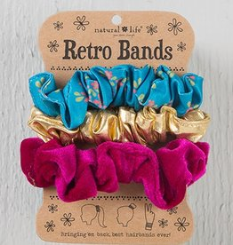 Retro Scrunchie- Turq Floral Gold