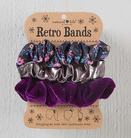 Retro Scrunchie- Black, Floral & Pewter