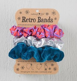 Retro Scrunchie- Red Burst Silver