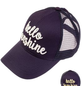Hello Sunshine Color Changing Ponytail Cap- Navy