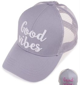 Good Vibes Color Changing Ponytail Cap - Grey