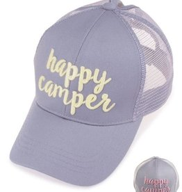 Happy Camper Color Changing Ponytail Cap - Grey