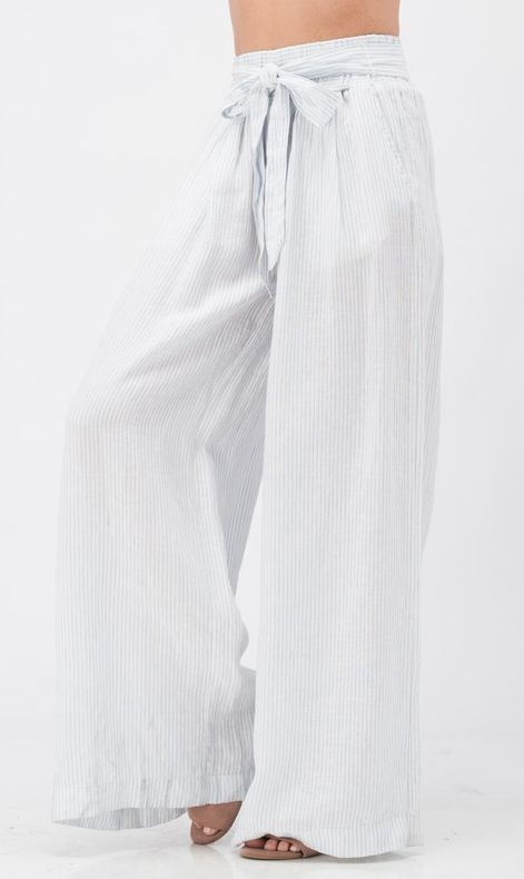 A Walk To Remember Palazzo Pants - Blue/White Striped