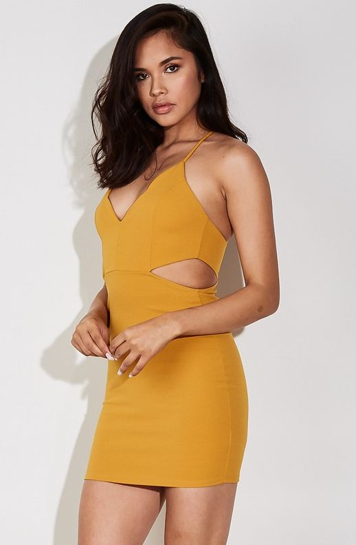 Side Piece Mini Dress - Yellow