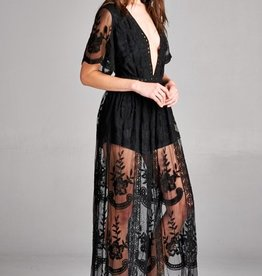 Taken To Heart Lace Maxi Dress - Black