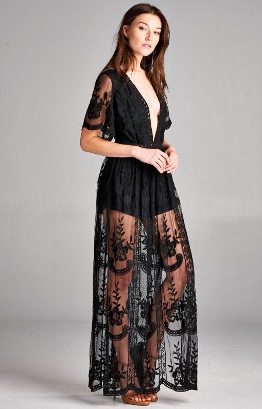 Taken To Heart Lace Maxi Dress - Black
