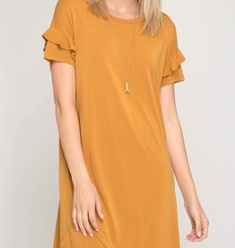 Keeping It Cozy Dress- Mustard