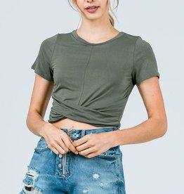 Easy Goes It Crop Top - Olive
