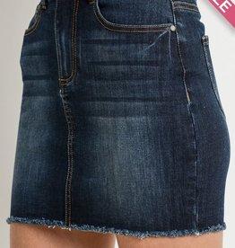 Curvy Strong Mini Skirt- Dark Wash