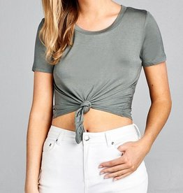 All Twisted Crop Top - Avocado