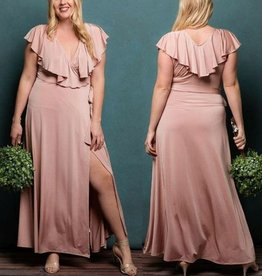 Classy And Fabulous Wrap Maxi Dress - Rose