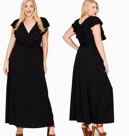 Classy And Fabulous Wrap Maxi Dress - Black