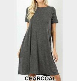 I'm So Basic Dress - Charcoal