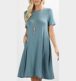 I'm So Basic Dress - Blue Grey
