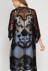 Back By Midnight Lace Cardigan - Black
