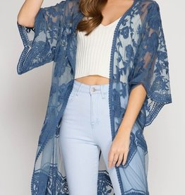Back By Midnight Lace Cardigan - Blue