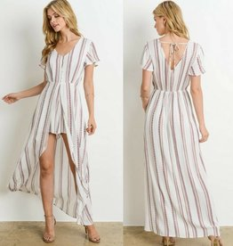 Sweet Secrets Romper - Ivory Stripe