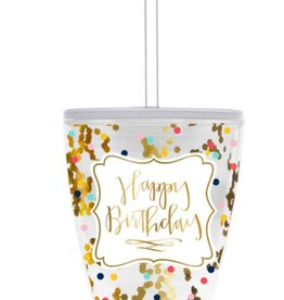 10oz Happy Birthday Confetti Tumbler w/Straw