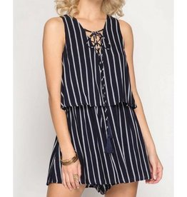 Can You Stay Romper- Navy