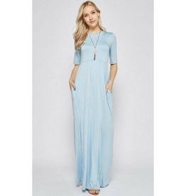 Now And Forever 3/4 Sleeve Maxi Dress - Aqua