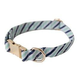 Dog Collar- Blue Diagonal Stripe Small