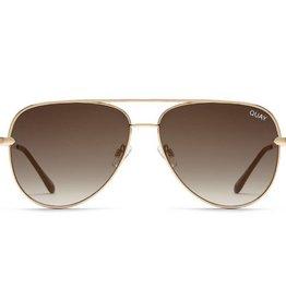 QUAY Sahara Sunglasses - Gold/Smoke To Taupe Fade