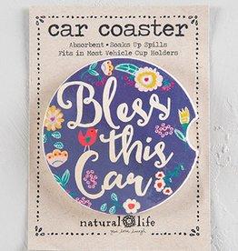 Car Coaster- Bless This Car Navy