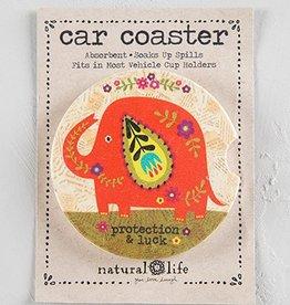 Car Coaster- Orange Elephant