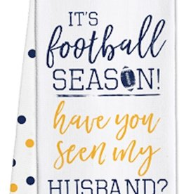 Game Day Tea Towels - Husband? - Navy/Yellow