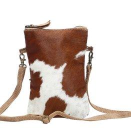 MYRA BAG White And Brown Cross Body Bag