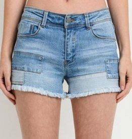 All Patched Up Denim Shorts - Light Wash