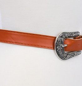 Ryland Double Buckle Western Belt - Rust/Silver