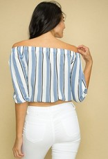 Put A Knot In It Crop Top- White/Blue