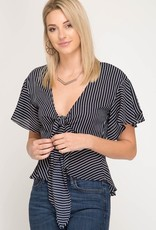 Here For Good Top- Navy