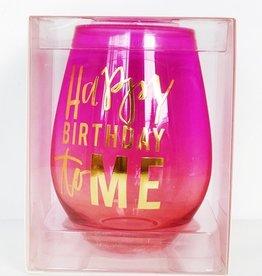 Stemless Wine Glass 30oz- Happy Birthday